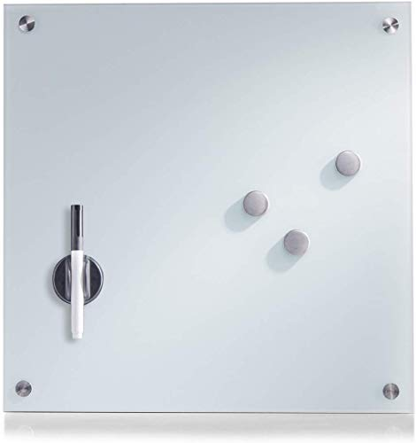 Zeller 11600 Memobord, Glas, weiß, ca. 40 x 40 cm