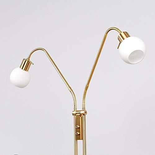 Lindby LED Stehlampe 'Elaina' in Gold/Messing aus Metall u.a. für Wohnzimmer & Esszimmer (2 flammig, E14, A+, inkl. Leuchtmittel) - LED-Stehleuchte, Floor Lamp, Standleuchte, Wohnzimmerlampe