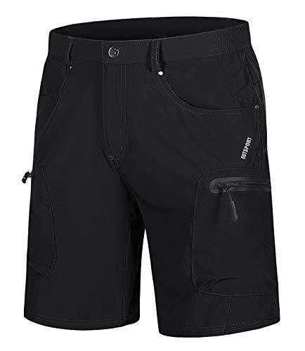 EKLENTSON Men's Cycling Shorts Lightweight MTB Short Pants Quick Dry Mountain Biking Summer Bottoms with Zip Pockets Black