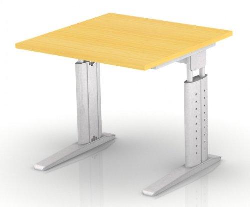 Schreibtisch Hammerbach US08 quadratisch 80 cm höhenverstellbar, Dekor wählbar, Dekor:Buche