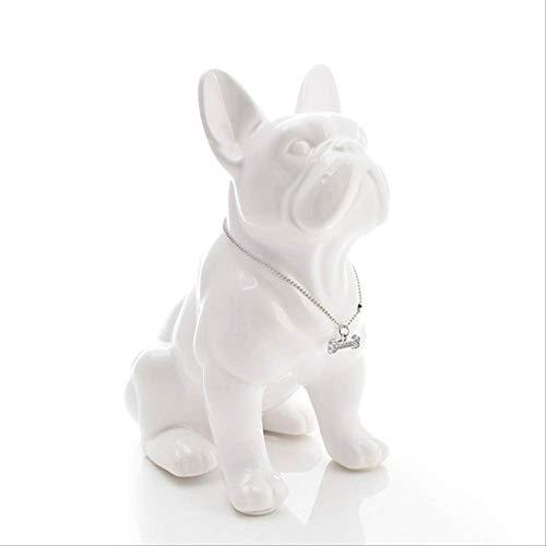 NOBRAND Bulldog francés Perro de cerámica Adorno para Mascotas Manualidades Porcelana Figuras de Animales Regalos 16X10X18Cm Blanco