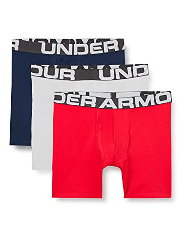 Under Armour Charged Cotton 6in 3 Pack, bóxers Ajustados Hombre, Rojo (Red/Academy/Mod Gray Medium Heather) M