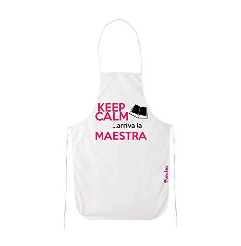 pazza idea Grembiule Cucina Scritta Keep Calm Arriva la maestra Scuola Regalo Insegnante