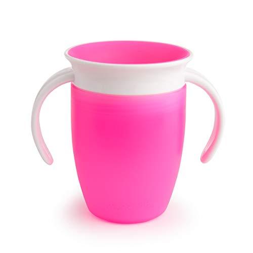 Munchkin Miracle 360° Vaso de Entrenamiento con Asas, Rosa (Pink), 207 ml