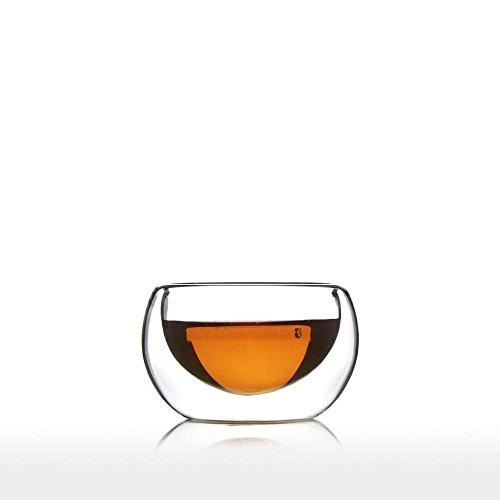 Dubbelwandig glas (50 milliliter 1,67 unce, set van 6) Thee- en koffiemok Theekop Gepersonaliseerde Handgemaakte Set Voor Koffiemachine Geschikt voor Espresso Latte Cappuccino Macchiato Hot Chocolade Melk Warm en Koud Drank Transparante Vaatwasser Veilig - Azzinoth Unihom