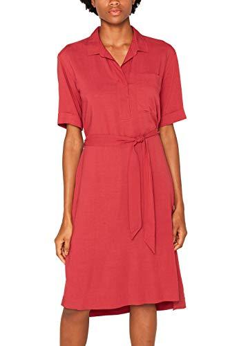 ESPRIT Damen 079Ee1E011 Kleid, Rot (Dark Red 610), (Herstellergröße: 38)