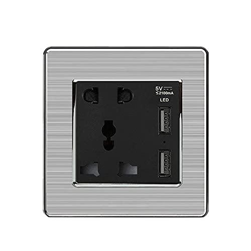 Toma de corriente universal de 5 pines, zócalo con USB, DUAL USB 5V 2A LED SMART Turn Light Steel de acero inoxidable 86mm * 86mm-Negro_110-250v