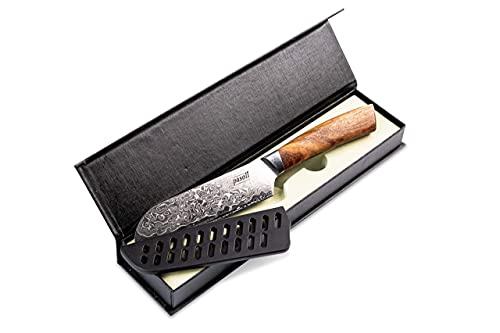 pasoli Cuchillo Santoku de damasco, incluye protector de hoja, 67 capas de acero de Damasco VG-10, hoja afilada de 13 cm, mango de madera noble, cuchillo de cocina ideal
