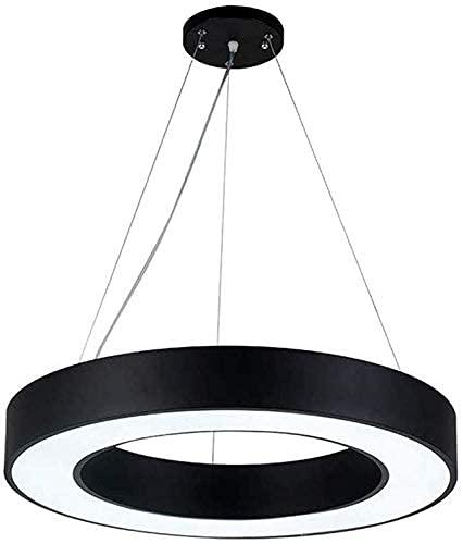 DGHJK Lámparas de decoración del hogar LED 60CM Lámpara Colgante de Anillo Regulable con Control Remoto Luz Colgante Redonda Negra Moderna Altura Ajustable Comedor Dormitorio Luces de Techo