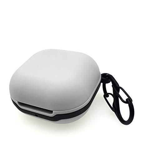sciuU Schutzhülle kompatibel mit Samsung Galaxy Buds Live, Tragbare Flexible Silikonhülle mit Karabiner, stoßfestes Gehäuse für Galaxy Drahtlose Ohrhörer Ladekoffer, Grau