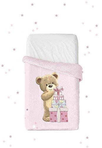 Manterol Manta infantil VIP, diseño de oso con regalo, tamaño 110 x 140 cm, color rosa