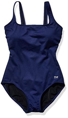 TYR Women's Aqua Solid Controlfit Swimwear, Navy, 8