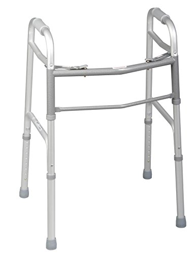 Medline Two-Button Folding Walkers Without Wheels, Junior