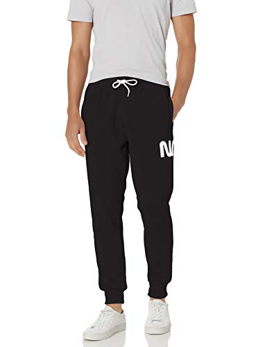 Southpole Men's Collection Fleece Jogger Pants, Black NASA, Large