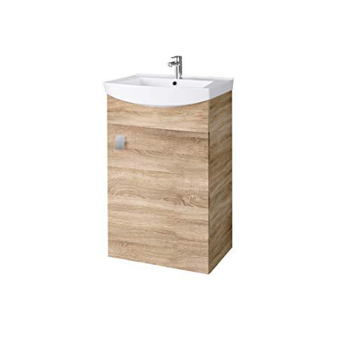 Planetmöbel Waschbecken mit Waschbeckenunterschrank/Waschtisch-Unterschrank 44cm Gäste Bad WC (Sonoma Eiche)