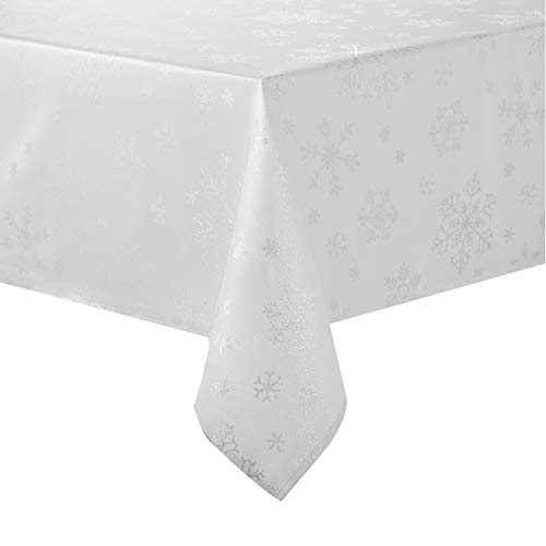 HARORBAY Christmas Tablecloth 60 x 104 Inch, Rectangle Snowflake Table Cloth for Thanksgiving Fall Holiday, White Silver Farmhouse Table Cover (Icey Serie)