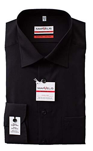 Marvelis Hemd, Modern Fit, Extra lang 69er Arm, Bügelfrei, Knitterfrei, 100% Baumwolle, New Kent Kragen (46, Schwarz)