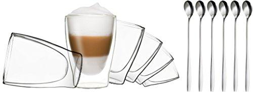 DUOS 6X 310ml doppelwandige Gläser + 6 Löffel - Set Thermogläser mit Schwebe-Effekt, auch für Tee, Eistee, Säfte, Wasser, Cola, Cocktails geeignet, by Feelino
