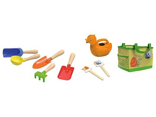 Play Tive kindertuingereedschap, 9-delig, gieter, schoppen, enz., tuintas decoratie groen