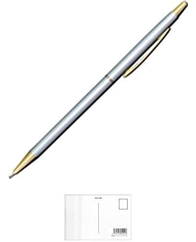 オート ボールペン ニードルポイントスリムライン グレー NBP-5B5-GY 【 3本】 + 画材屋ドットコム ポストカードA