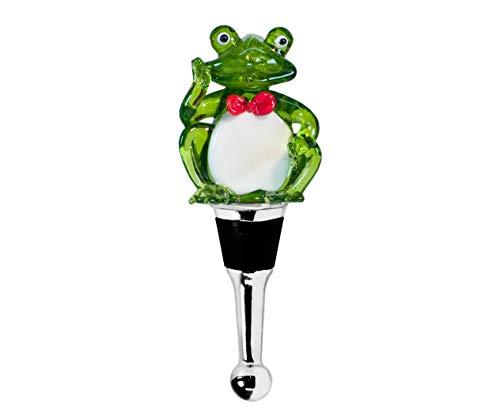 EDZARD Flaschenverschluss Frosch für Champagner, Wein und Sekt, Höhe 11 cm, Muranoglas, Handarbeit (kleine Unebenheiten möglich)