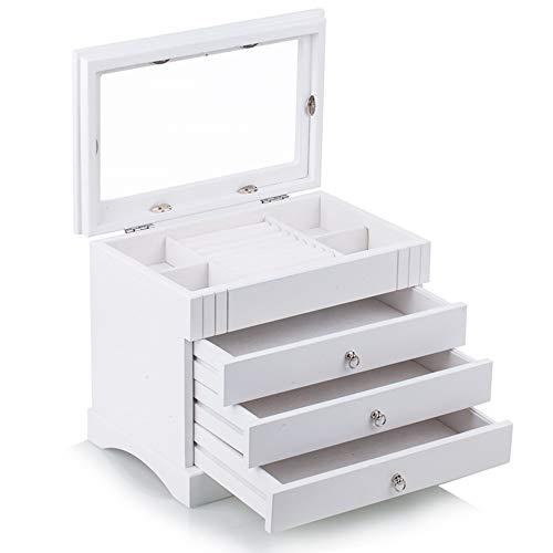 Schmuckkasten aus Holz schmuckkoffer Schmuckkästchen Holzbox Aufbewahrungsbox für Schmuck