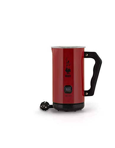Bialetti 4431 Milk Frother Elektrischer Milchaufschäumer, 150 ml Cappuccino oder 300 ml heiße Milch, Rot, Aluminium