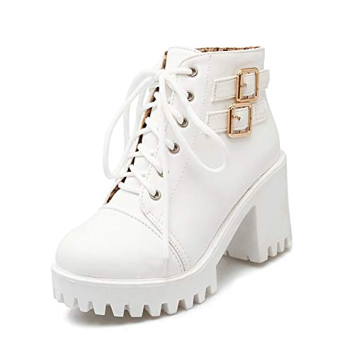 EPRHAN Lace-Up Oxford Booties for Women, Retro Platform Block Heel Ankle Boots (7 UK, White)