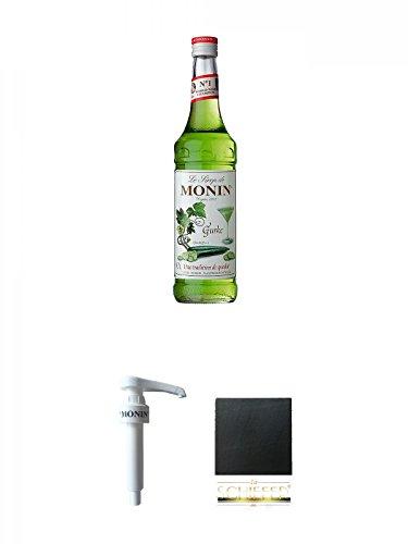Monin Gurke Sirup 0,7 Liter + Monin Dosier Pumpe für 0,7 & 1,0 Literflasche + Schiefer Glasuntersetzer eckig ca. 9,5 cm Durchmesser