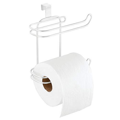mDesign Toilettenpapierhalter ohne Bohren – Klorollenhalter fürs Badezimmer, praktisch zum Aufhängen – cleverer Papierrollenhalter – weiß