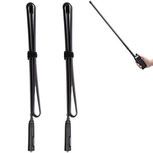 2 Pack-29 Inch Foldable Tactical Raido Antenna Walkie Talkies Dual Band UV VHF UHF 144 430Mhz Antennas Two Way Radio Connector for Kenwood Baofeng UV-5R UV82 888S F8HP Retevis H777 by WMM (72 cm)