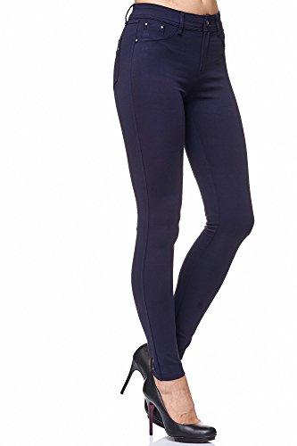 Elara Damen Stretch Hose Skinny Fit Jegging Chunkyrayan H08 Dk.Blue 42 (XL)