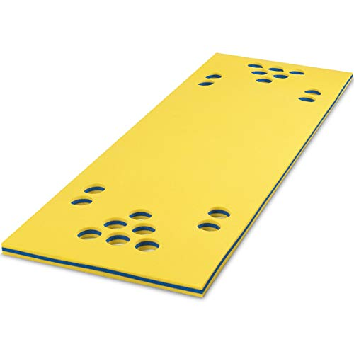Goplus Floating Beer Pong Table, 3-Layer Tear-Resistant Foam Water Pad Mat with Cup Holes for Lake Pool Game (Yellow, 5.5' x 35.5'')