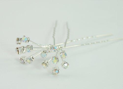 LJ Designs Paire d'épingles à cheveux serties de cristaux (T19)