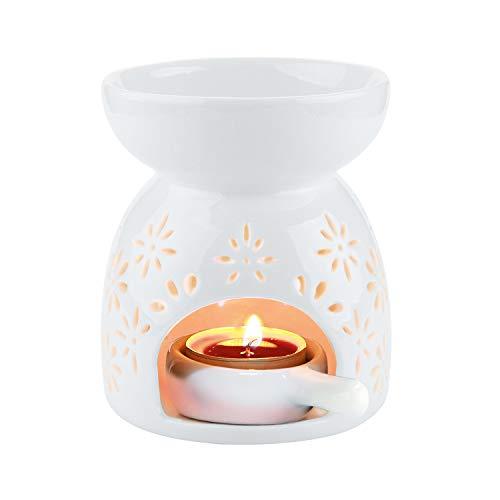 ComSaf Duftlampe Teelicht mit Teelichthalter, Keramik Wachs Aromalampe Duftöl Kerzenhalter Weiß Blumenmuster