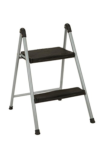 Cosco Two Step Steel Resin Steps Step Stool without Handle Platinum/Black