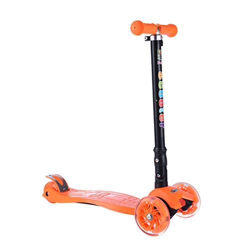 LWKBE 3 Ruedas Scooter Mini para los niños, Intermitente Planeador Patinete con Altura Ajustable y Plegable Manillar, niños de 2-10 años,Naranja