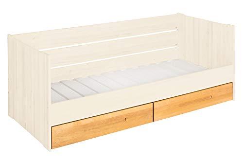 BioKinder Lina Slaapbank Functioneel bed Stapelbed met lattenbodem en 2 bedladen van massief elzenhout en grenenhout 90 x 200 cm, bedladen elzenhout