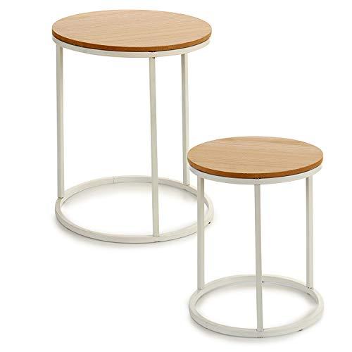 TU TENDENCIA UNICA Juego de Dos mesas con Patas metálicas y sobre de MDF Color Natural. Funcional y estética como Mesa Auxiliar, con Posibilidad de apilarlas. Medidas: 35 x 35 x 41 cm. (Blanco)