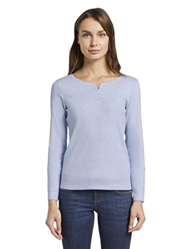 TOM TAILOR Damen Streifenbluse Bluse, Blau ( Blue Offwhite Small Stripe ) , L