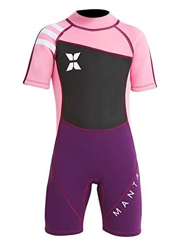 Echinodon Mädchen Neoprenanzug UPF 50+ 2.5MM Neopren Schwimmanzug Kurzarm UV Schutz Badeanzug für Baby Kinder Rosa XL