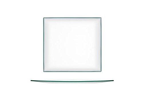 H&H Transparent, Assiette Carrée, 20 cm, Verre, 1 Pièces