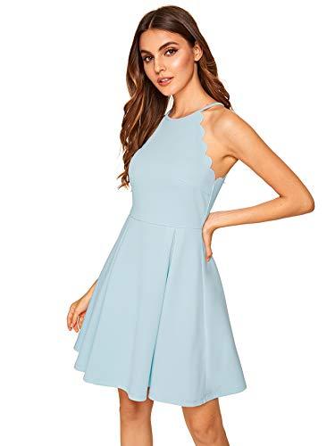 Romwe Women's Sweet Scallop Sleeveless Flared Swing Pleated A-Line Skater Dress Light Blue XL