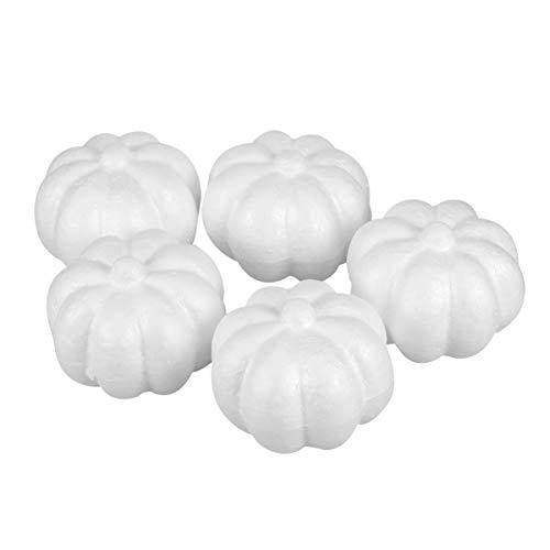 Holibanna 5 stück Weiß Kürbisse Shellkingdom Künstliche Styropor Fake Kürbis-Dekorationen Set für Halloweendeko und Herbstdeko Party