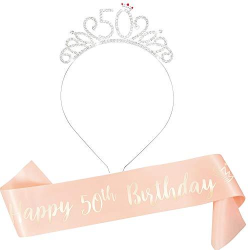 Qpout Alles Gute zum 50. Geburtstag Schärpe & Strass Tiara für Frauen, 50Bday Roségold Doppelschicht Geburtstag Schärpe Krone Stirnband für Frauen / Mädchen Prost auf die 50. Geburtstagsfeier Gunst