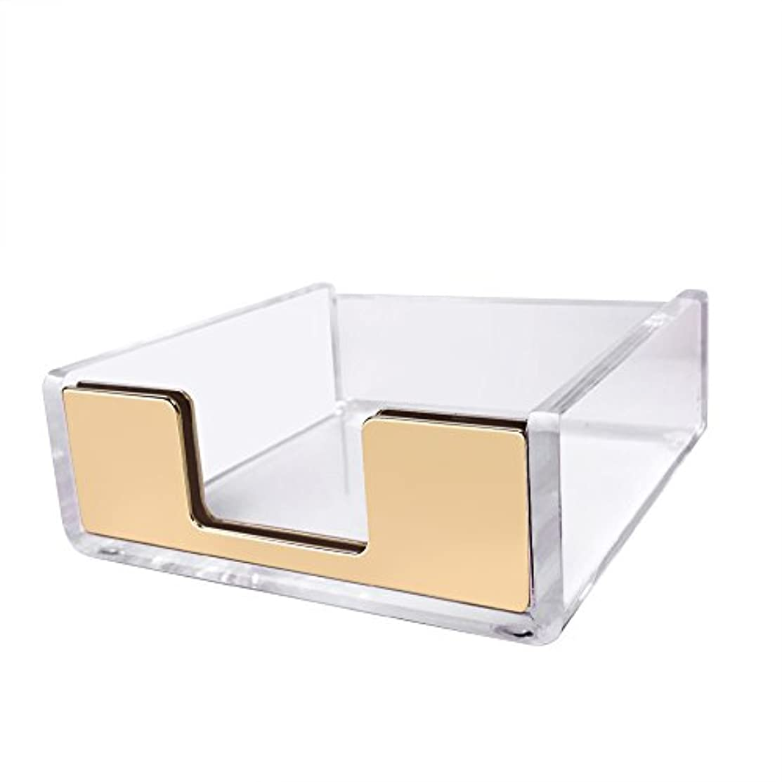 UNIQOOO 5mm Super Thick Clear Acrylic Memo Paper Pads Notes Cards Box Holder Case with Gold Finished, A Classic Modern Design to Brighten Up Your Desk, Elegant Office Accessory