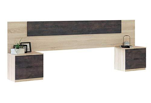 PEGANE Ensemble tête de lit + 2 Tables de Chevet (2...