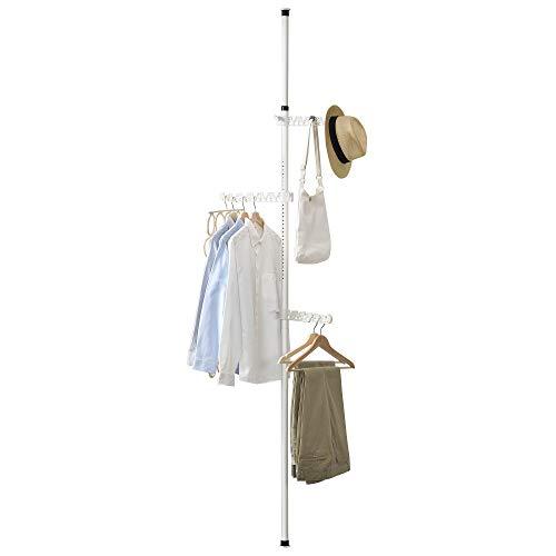[en.casa] Teleskop Garderobe - mit 3 Armen - Kleiderstange Garderobenständer Kleiderschrank bis 8kg