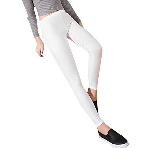 Polainas De Las Delgadas Simple Mujeres Estilo Y Polainas Modernas De Cuero Flacas Color Sólido Cintura Elástica Slim Fit Pantalones Pantalones Cortos Pantalones Largos (Color : Blanco, Size : L)