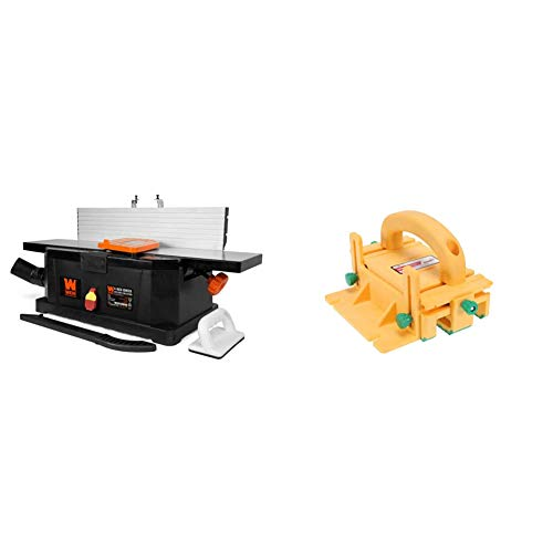 WEN 6559 6-Inch 10-Amp Corded Benchtop Jointer with Filter Bag and Depth Scale & GRR-RIPPER 3D Pushblock for Table Saws, Router Tables, Band Saws, and Jointers by MICROJIG